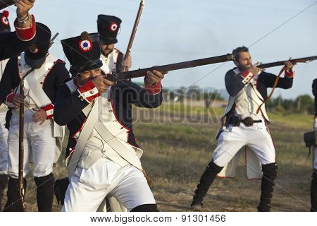 Soldiers Firing Muskets