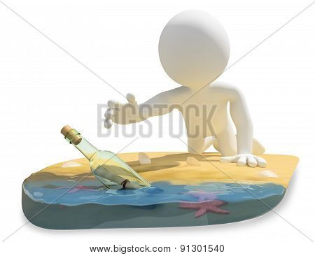 3D White People. Message In A Bottle On The Beach