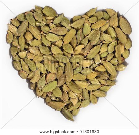 Cardamom Seeds In The Form Of Heart On A White