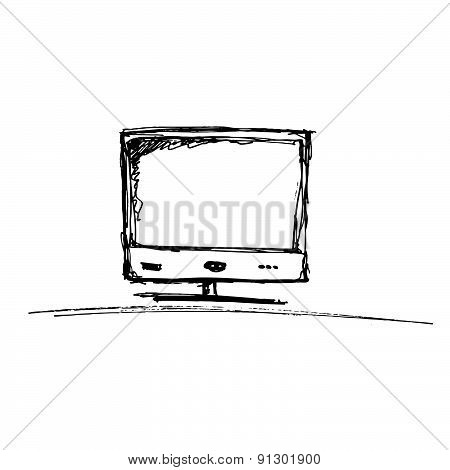 Sketch Of A Computer Monitor