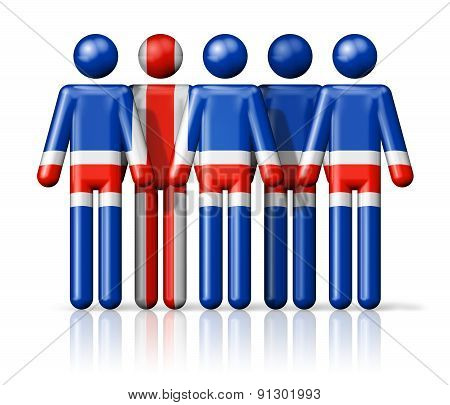 Flag Of Iceland On Stick Figure