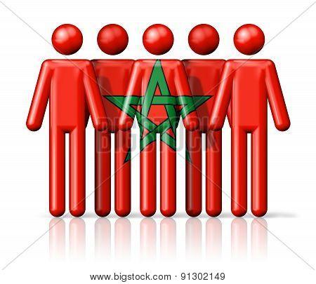 Flag Of Morocco On Stick Figure