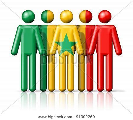 Flag Of Senegal On Stick Figure