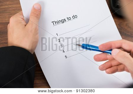 Businessman Planning To Do List