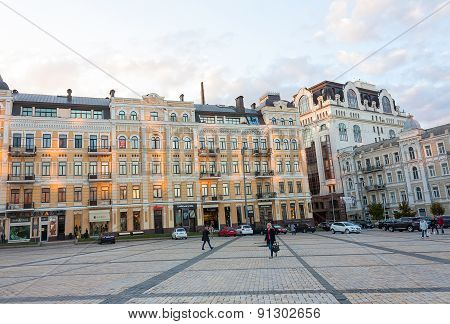 Kiev, Ukraine - September 09, 2013: St. Sofia's Square in Kiev, Ukraine