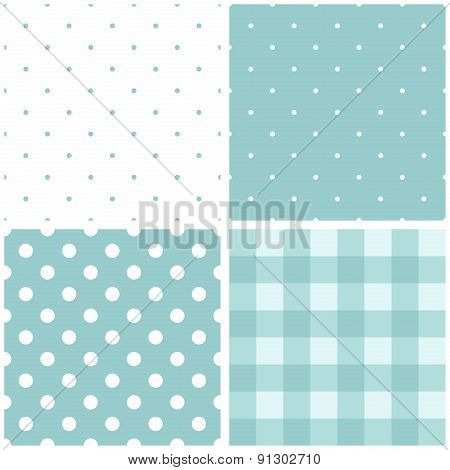 Tile blue and white vector pattern set with polka dots and checkered plaid