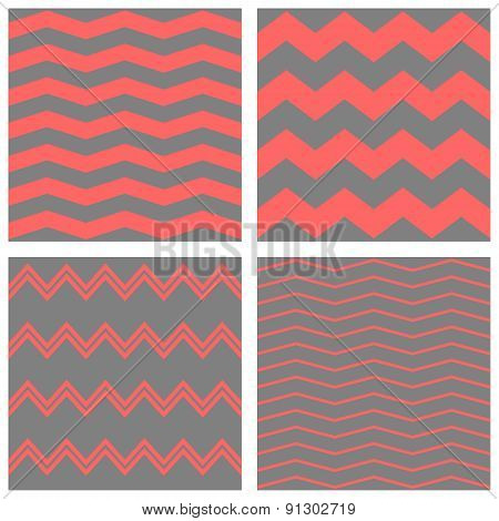 Tile vector pattern set with grey and pink zig zag background