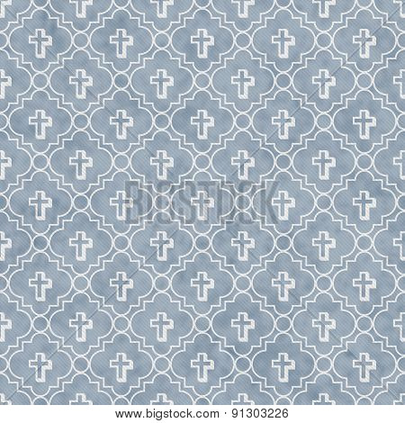 Pale Blue And White Cross Symbol Tile Pattern Repeat Background