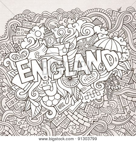England hand lettering and doodles elements background