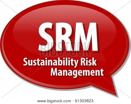 word speech bubble illustration of business acronym term SRM Sustainability Risk Management