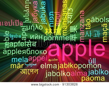 Background concept wordcloud multilanguage international many language illustration of apple glowing light