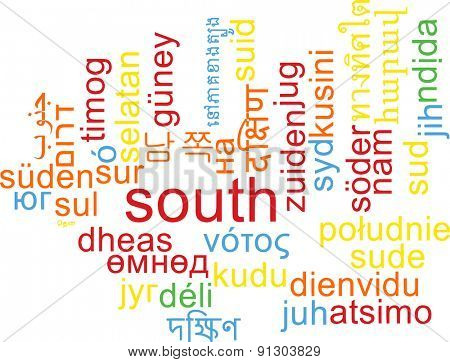 Background concept wordcloud multilanguage international many language illustration of south