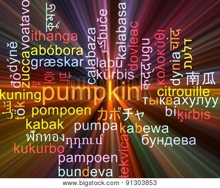 Background concept wordcloud multilanguage international many language illustration of pumpkin glowing light