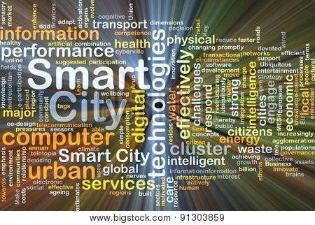 Background concept wordcloud illustration of smart city glowing light