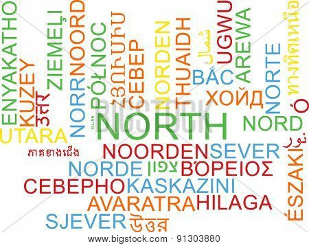 Background concept wordcloud multilanguage international many language illustration of north