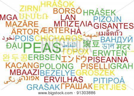 Background concept wordcloud multilanguage international many language illustration of peas