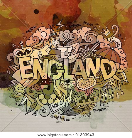 England watercolor hand lettering and doodles elements backgroun