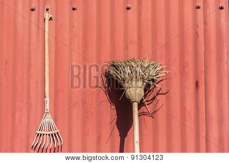 Garden Tools Red Wall