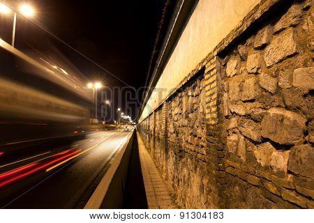 City street at night.
