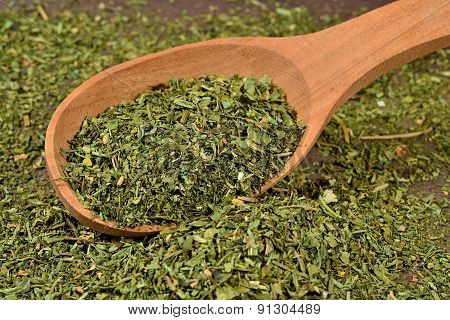 Dried Parsley In A Spoon