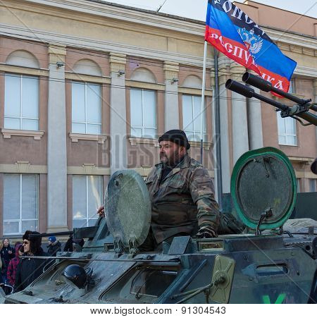 Makeevka, Ukraine - February, 22, 2015: Soldiers Army Donetskaya People's Republic On The Central Sq