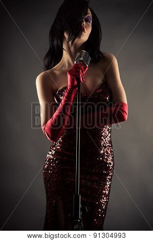 woman with a retro microphone
