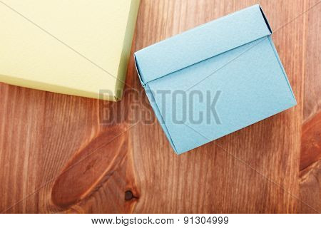 Paper Boxes On Wooden Background