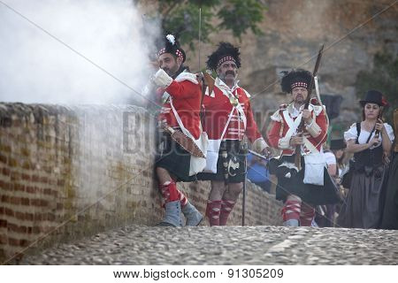 Scottish Troops Defending The Bridge