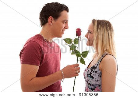 Girl Is Happy With Rose Giving By Boyfriend