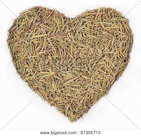 Dried Rosemary In The Form Of Heart On A White