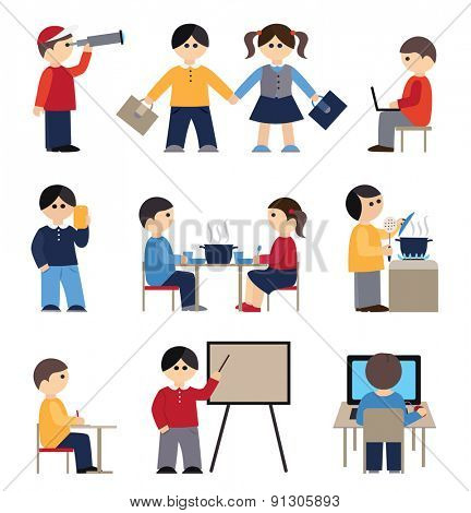 Icons set with people and students (flat conception, vector illustration)
