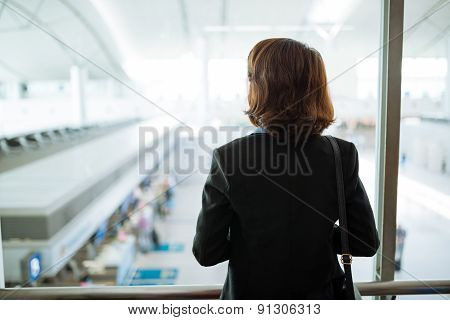 Looking at airport terminal