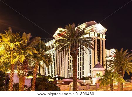 Caesars Palace Resort Facade By Night
