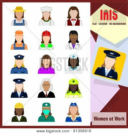 Iris Icons - Women At Work. Colorful Flat Icons