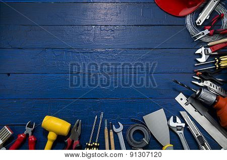 Carpenter Tools on Blue Wood