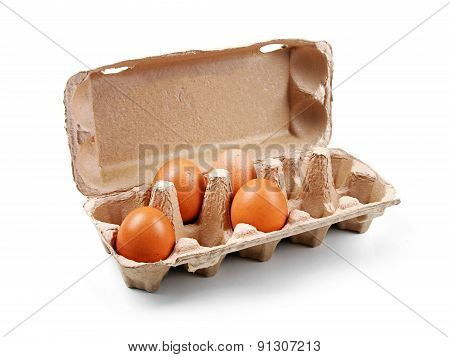 Cardboard Egg Box Isolated On White
