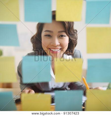 Looking at adhesive notes