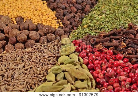 Heap Of Different Spices