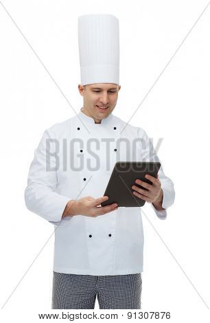 cooking, profession and people concept - happy male chef cook holding tablet pc computer