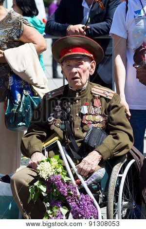 Sevastopol / Crimea - May 9, 2015: Veterans At The Parade In Honor Of The 70Th Anniversary Of Victor