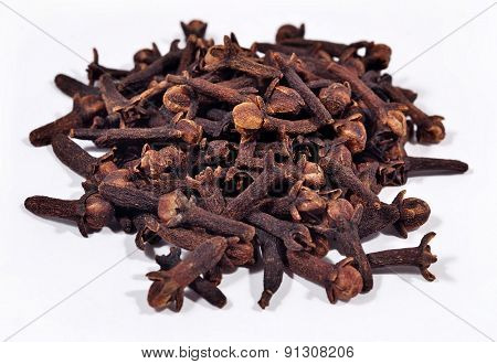 Heap Of Dried Clove On A White