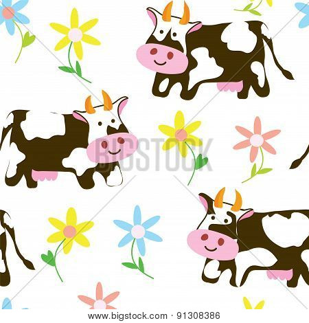 Cows And Flowers - Funny Seamless Pattern