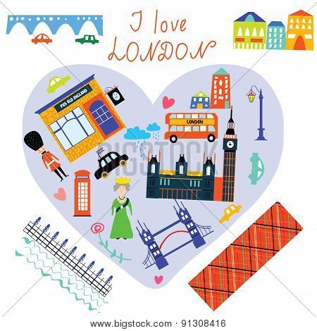 London Love Card With Funny Landmarks