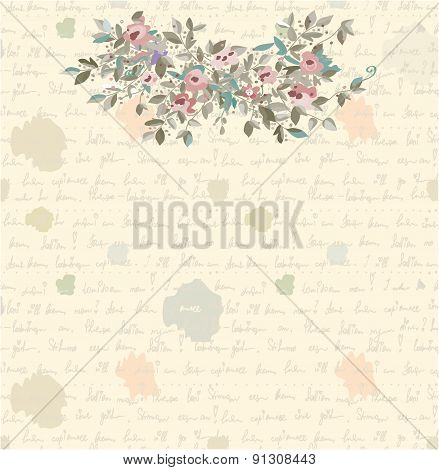 Retro Letter Background With Flowers And Text