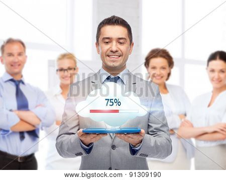 business, people, cloud computing and technology concept - happy smiling businessman in suit holding tablet pc computer transferring data over team
