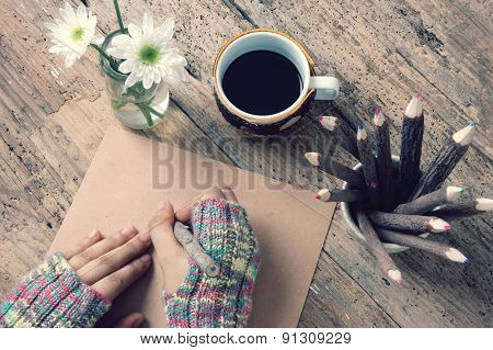Women Hand, Wintertime, Writting Letter