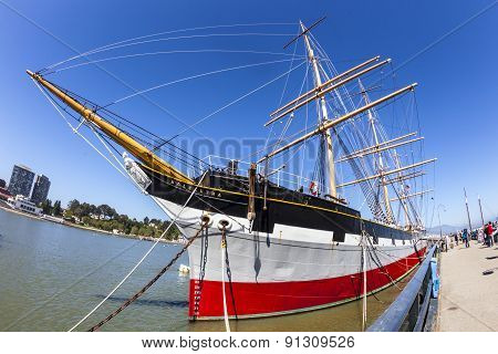 Vintage 1886 Sailing Ship, Balclutha On Public Display At San Francisco Maritime National Historical