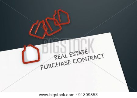 Real Estate Contract Template With House Shape Paper Clip Isolated