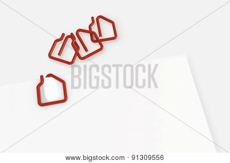 Real Estate Contract Template With House Shape Paper Clip - Isolated