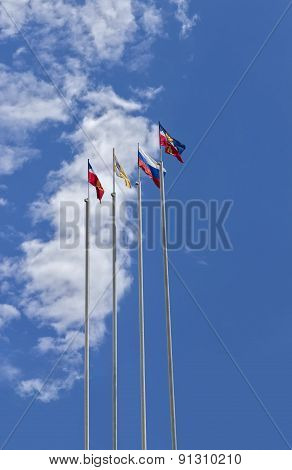Flags On Flagpoles.